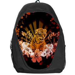 Cute Little Tiger With Flowers Backpack Bag by FantasyWorld7