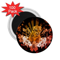 Cute Little Tiger With Flowers 2 25  Magnets (100 Pack)  by FantasyWorld7