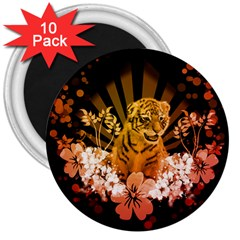 Cute Little Tiger With Flowers 3  Magnets (10 Pack)  by FantasyWorld7