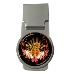 Cute Little Tiger With Flowers Money Clips (round)  by FantasyWorld7