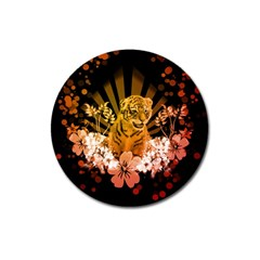 Cute Little Tiger With Flowers Magnet 3  (round) by FantasyWorld7
