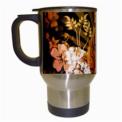 Cute Little Tiger With Flowers Travel Mugs (white) by FantasyWorld7