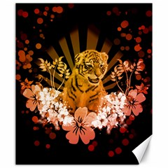 Cute Little Tiger With Flowers Canvas 20  X 24   by FantasyWorld7