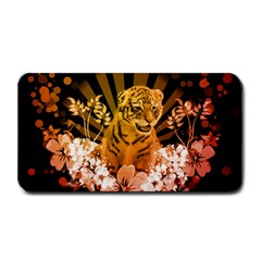 Cute Little Tiger With Flowers Medium Bar Mats by FantasyWorld7