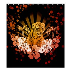 Cute Little Tiger With Flowers Shower Curtain 66  X 72  (large)  by FantasyWorld7