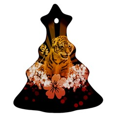 Cute Little Tiger With Flowers Christmas Tree Ornament (two Sides) by FantasyWorld7