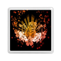 Cute Little Tiger With Flowers Memory Card Reader (square)  by FantasyWorld7