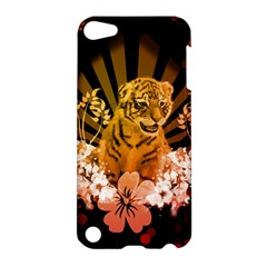 Cute Little Tiger With Flowers Apple Ipod Touch 5 Hardshell Case by FantasyWorld7