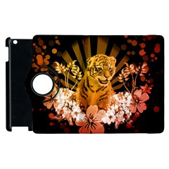 Cute Little Tiger With Flowers Apple Ipad 3/4 Flip 360 Case by FantasyWorld7