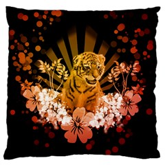 Cute Little Tiger With Flowers Standard Flano Cushion Case (two Sides) by FantasyWorld7