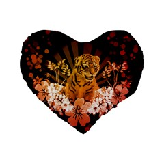 Cute Little Tiger With Flowers Standard 16  Premium Flano Heart Shape Cushions by FantasyWorld7