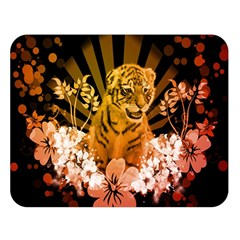 Cute Little Tiger With Flowers Double Sided Flano Blanket (large)  by FantasyWorld7