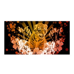 Cute Little Tiger With Flowers Satin Wrap by FantasyWorld7