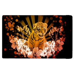 Cute Little Tiger With Flowers Apple Ipad Pro 12 9   Flip Case