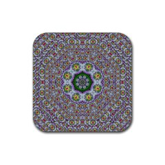 Summer Bloom In Floral Spring Time Rubber Coaster (square)  by pepitasart