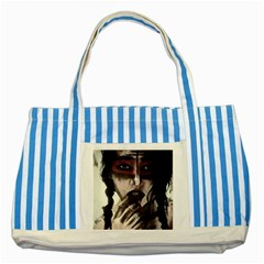 Femininely Badass Striped Blue Tote Bag by sirenstore
