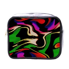 Hot Abstraction With Lines 1 Mini Toiletries Bags by MoreColorsinLife