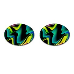 Hot Abstraction With Lines 4 Cufflinks (oval) by MoreColorsinLife
