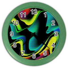 Hot Abstraction With Lines 4 Color Wall Clocks