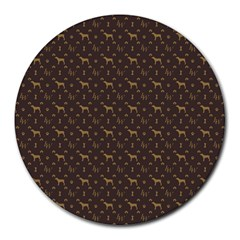 Louis Weim Luxury Dog Attire Round Mousepads by PodArtist