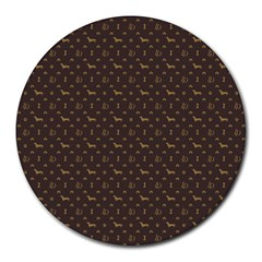 Louis Dachshund  Luxury Dog Attire Round Mousepads by PodArtist