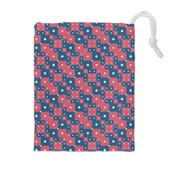Squares And Circles Motif Geometric Pattern Drawstring Pouches (extra Large)