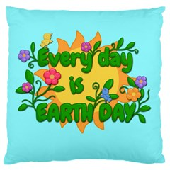 Earth Day Large Cushion Case (two Sides) by Valentinaart
