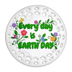 Earth Day Round Filigree Ornament (two Sides) by Valentinaart