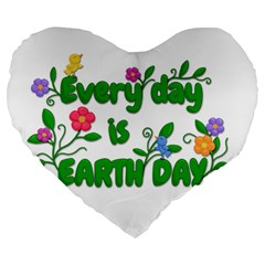 Earth Day Large 19  Premium Heart Shape Cushions