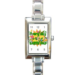 Earth Day Rectangle Italian Charm Watch