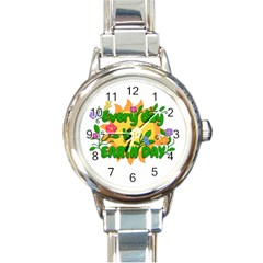 Earth Day Round Italian Charm Watch