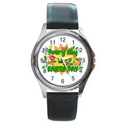 Earth Day Round Metal Watch
