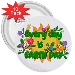 Earth Day 3  Buttons (10 pack)
