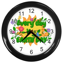 Earth Day Wall Clocks (Black)