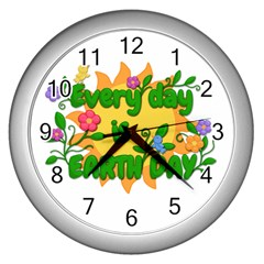 Earth Day Wall Clocks (Silver)