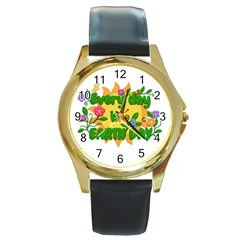 Earth Day Round Gold Metal Watch