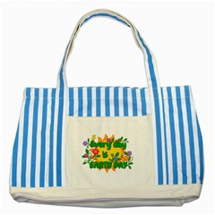 Earth Day Striped Blue Tote Bag