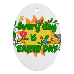 Earth Day Oval Ornament (Two Sides)