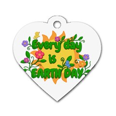 Earth Day Dog Tag Heart (One Side)