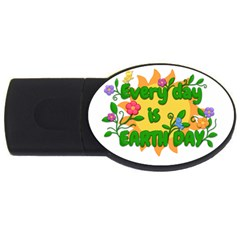Earth Day Usb Flash Drive Oval (4 Gb) by Valentinaart