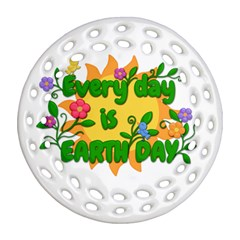 Earth Day Round Filigree Ornament (Two Sides)