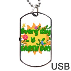 Earth Day Dog Tag USB Flash (Two Sides)