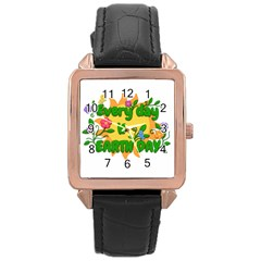 Earth Day Rose Gold Leather Watch