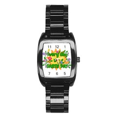 Earth Day Stainless Steel Barrel Watch