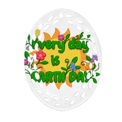 Earth Day Oval Filigree Ornament (two Sides) by Valentinaart