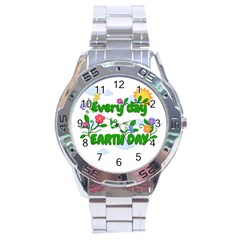 Earth Day Stainless Steel Analogue Watch by Valentinaart