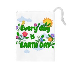 Earth Day Drawstring Pouches (large)  by Valentinaart