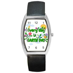 Earth Day Barrel Style Metal Watch