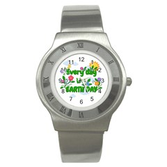 Earth Day Stainless Steel Watch by Valentinaart