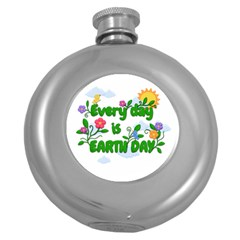 Earth Day Round Hip Flask (5 Oz) by Valentinaart
